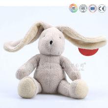 ICTI audits OEM factory stuffed plush white rabbit toy ,long ear plush rabbit toy with clothes