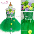 Fille à la main robe tutu fleur fille robe Halloween Costume Enfants Enfants Tulle Robe Pour Parti Vert couleur Prom Photo Robes