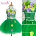 Handmade girl tutu dress flor menina vestido de halloween traje crianças crianças tule dress para festa cor verde baile de formatura foto vestidos