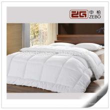 Venta al por mayor 500GSM poliéster microfibra con tejido de algodón blanco hotel edredón