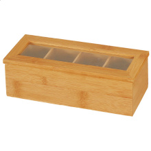 Wooden 4 compartment tea storage box