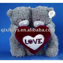 pelúcia e recheado valentine teddybear com coração, menino macio e menina bebê brinquedo animal