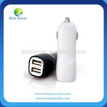 Bateria de carro USB dupla 2A corrente de saída / rápido no carregamento e mini carregador de carro de design exclusivo