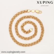 43938 Atacado hip hop estilo design simples banhado a ouro cadeia colar de jóias da moda