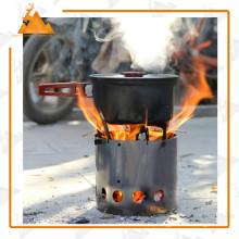 Estufa de leña de Camping al aire libre de acero inoxidable barato