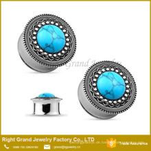 Kostbare Türkis Center Jeweled Tribal Top Double Flared Ohr Plug Gauges Piercings