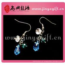 Moda jóias artesanais luz azul safira brincos petite