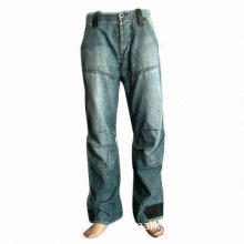Men's Spring Summer Fashion Jeans with Knee-cutted and Mock Leather Patched