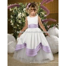 Vestido de fiesta de las niñas de los comienzos del satén de la alta calidad Vestido de la muchacha de flor