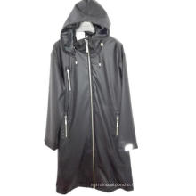 Black Hooded Solid Waterproof PU Raincoat