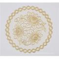 PVC redondo Tablemat de 16cm com café popular do laço do ouro / casamento