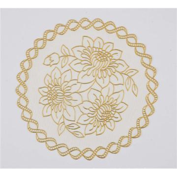 16cm runder PVC-Tischset mit Goldspitze-populärem Kaffee / Hochzeit