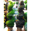 Decorative plastic topiry tree artificial spiral boxwood tree with pot