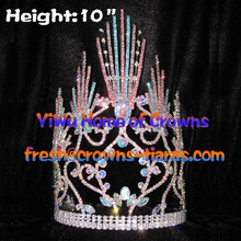 10inch Colorful Rainbow Pageant Crowns with adjustable band