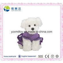 Lila Dressing Plüsch gefüllte weiße Hund Puppe (XDT-027S)