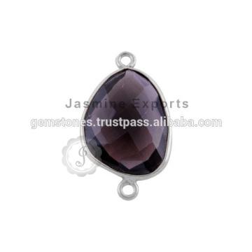 925 Bijoux en pierres précieuses en argent sterling Signaux de lunette en quartz fumé Connecteur en mousse en argent sterling