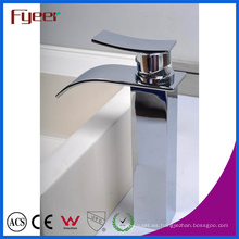 Fyeer Crooked Spout Square High Body Waterfall grifo de lavabo grifo mezclador de agua simple