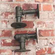 INDUSTRIAL PIPE BRACKET Vintage 1949 Style Dark Grey Malleable iron pipe fittings
