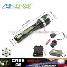 Q5 / 5W-1200 Lumen, Hochleistungs-Aluminium-LED-Fokus-Taschenlampe mit 1 * 18650 Batterie
