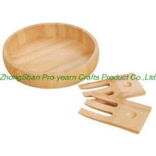 Wooden salad bowl with 2pcs forks