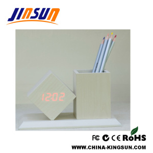 White Penholder with LED Alarm Clock