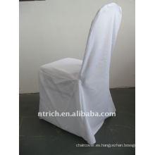 Cubierta de silla de banquete estándar de color blanco, material de poliéster CTV554, durable y fácil de lavar