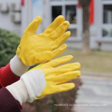 NMSAFETY хлопок интерлок желтый нитрила 3/4 покрытием перчатки трикотажные запястье анти - дешевые цене нефти/ тяжелые перчатки