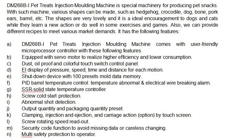 Introduction For Dm 268 Pet Treats Molding Machine