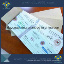 Embossing Foil Paper Coupon Ticket