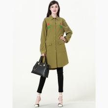 Premium mais recente design inverno novo Bordado floral escuro verde longa blusa