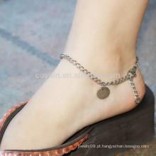 Bulk em branco em torno de aço inoxidável pingente de prata tornozeleiras