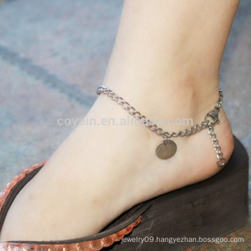 Bulk Blank Round Stainless Steel Pendant Silver Anklet Chains