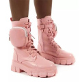 Lace up  boots women's fall winter new style  round toe retro motorcycle boots buckle strap pocket boots