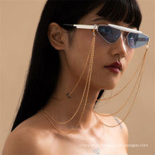 European and American Gold Silver Ins Metal Chain Hip Hop Multi-Layer Tassel Hanging Neck Rope Reading Glasses Sunglasses Chain Glasses Chain for Women 2021