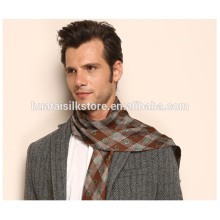 Plaid Pattern Man Silk Neck Tie with Fringe Fashionable Scarf