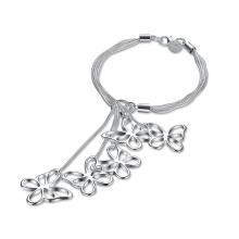 Bracelete De Prata De Pulseira Pulseira De Pingente De Forma De Borboleta Pulseira De Mulheres Jóia De Moda De Venda Quente