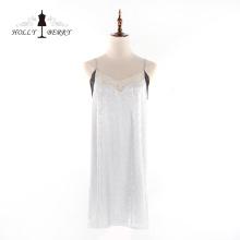 Moda feminina sem mangas com decote em v macio vestido de renda suspensa
