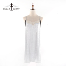 Fashion Women Sleeveless V-neck Soft Suspender Lace Dress