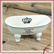 white customize ceramic soap dish mini bathtub shape