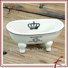 Branco personalizar cerâmica sabonete mini banheira forma