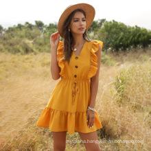 Wholesale Ladies' 2020 Summer Yellow V-neck ruffled bubble lace dress woman American Style Dress