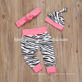 2016 pink color baby girl romper spring design 4 pcs set baby romper Zebra stripes printed short sleeve plain romper with cotton