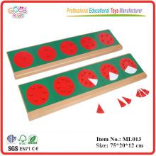 Montessori - Círculos de fracciones metálicas con soportes