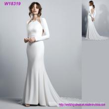 Lujo nupcial de la venta caliente blanco vestidos de novia de manga larga sin respaldo de satén sirena vestido de novia vestido de novia por encargo