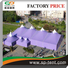 High top Outdoor winter events party tents in printed color measuring 20m and 40m long with several pagoda tents