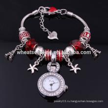 Нежные бисерные плавающие обертки 2014 модные наручные часы для девочки