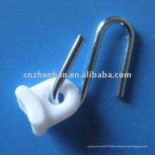 Componentes do toldo-Gancho de aço galvanizado de ferro com plástico branco, material toldo, acessórios toldo