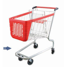New Folding Supermarket Utility Service Plastic Shopping Trolley Cart with Wheels
