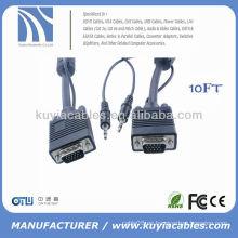 SVGA macho a macho cable de monitor con mini audio 15FT