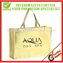 Metallic Golden Look Shiny PP Woven Shopping Bag